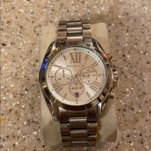Silver & white tone men's watch